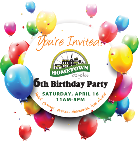 Hometown Bicycles 6th Birthday Party invitation