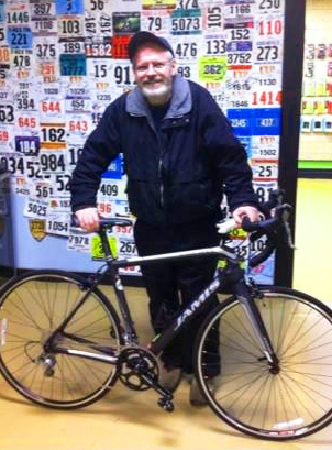 Dan Horal at Hometown Bicycles with his new Jamis bike