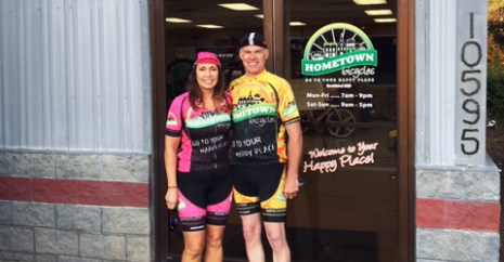 Joe and Carolyn at Hometown Bicycles in their Team Hometown Bicycles kits