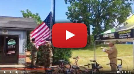 Hometown Bicycles Flag Raising Ceremony with Honor Guard from American Spirit Center VFW Post 4357