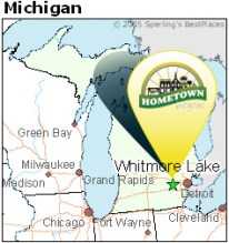 Whitmore Lake Map with Hometown Bicycles