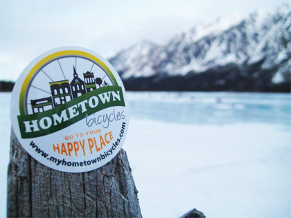 Hometown Bicycles sticker in Alaskan wilderness