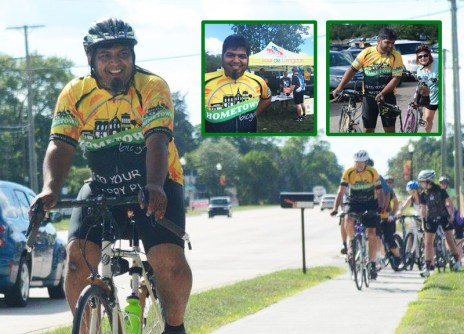 Shaun Bhajan leads off the Tour de Livingston Party Ride from Hometown Bicycles