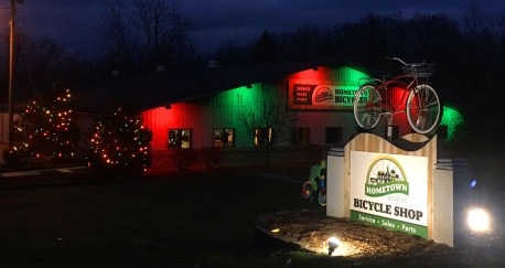Christmas lights at Hometown Bicycles