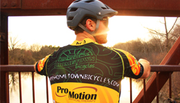 Team Hometown Bicycles' jersey rider at Island Lake Recreation Area