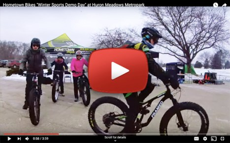Hometown Bicycles at Huron Meadows Metropark Winter Sports Demo Day with Leslie Cook and Doug Lapp video