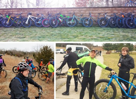 Team Hometown Bicycles and our rental fat bikes at Global Fat Bike Ride in Island Lake