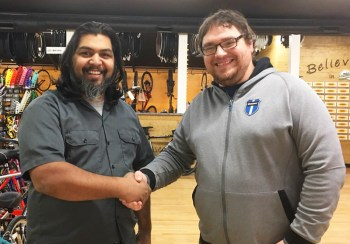 Shaun Bhajan of Hometown Bicycles shaking hands with Matt Fitzhorn of Vincere Cycles