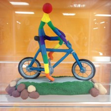 """Inner Joy"" clay bicycle art by George R. on display at Hometown Bicycles"