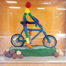 """""""Inner Joy"""" clay bicycle art by George R. on display at Hometown Bicycles"""