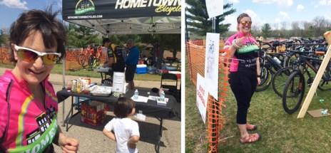 Team Hometown Bicycles volunteers at 2018 Island Lake Spring Bike Demo Day with MCMBA