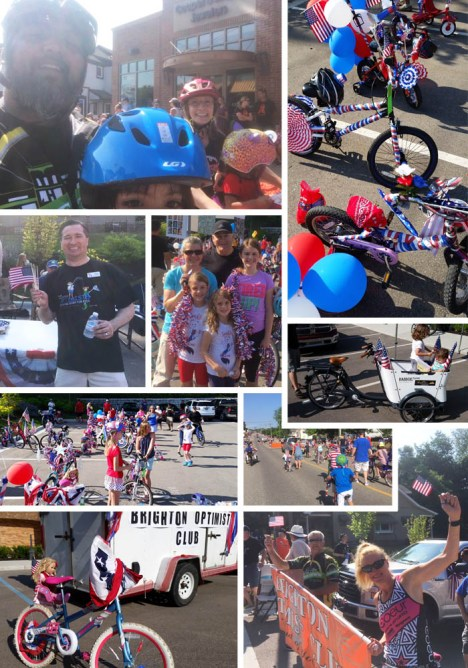 Hometown Bicycles and the Brighton Optimist Club at the Fourth of July Parade Bike Decorating Contest and Parade Ride