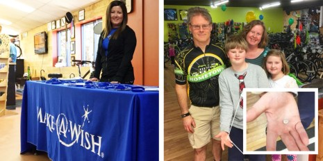Make-A-Wish table and losing a tooth with the Andres family at Hometown Bicycles 8th Birthday Party