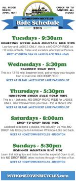 Hometown Bicycles Shop Ride Schedule 2015 - Starting April 1st!