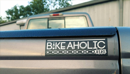 Bike-a-holic bumper sticker at Hometown Bicycles