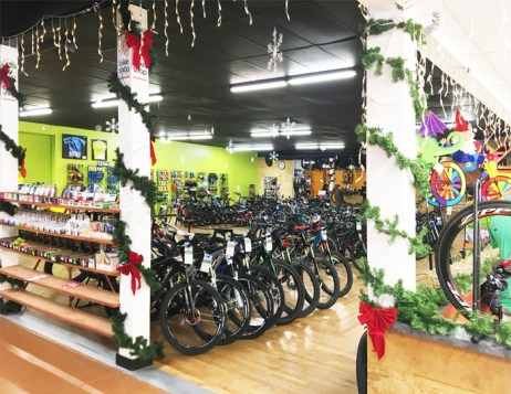 Hometown Bicycles bike shop gifts, novelties, bicycles, parts, accessories, and more decorated for Christmas