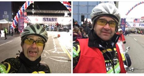 Team Hometown Bicycles DJ Joe Ostervik leading off the Detroit Free Press Marathon