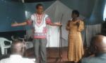 Pastor Mbeche's wife interpretting for me at Lanet Baptist Church in Nakuru