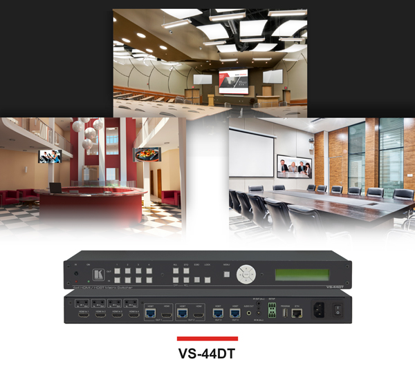 VS-44DT Long-Reach HDMI/HDBaseT 4K60 4x4 Matrix Switcher for Multi-Purpose AV Environments