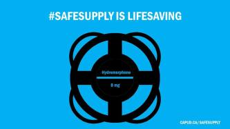 Image of overlapping circles on a blue background. Text: Safe Supply is Lifesaving Hydromorphone of 8 mg by capud.ca/safesupply