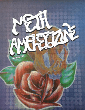 Meth Ampetizine cover o a rose and a yellow skull with green leaves.