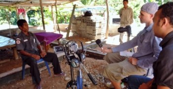 Robbie interviewing the Chief of the Suco (village) Dato in Liquicia, Timor Leste