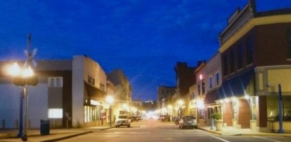 main street at twilight by bernadette e. kazmarski