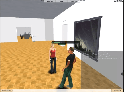 Computer-generated avatars interact in the RSU 3 Virtual Learning Center.