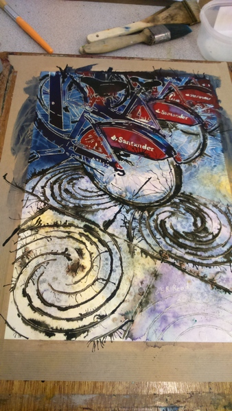 Boris Bikes - the painting by Cathy S R Read ©2016 Work in progress