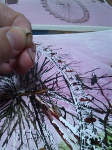 Removing Masking Fluid from a painting by Cathy S R Read