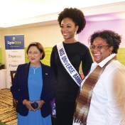 Miss Universe Barbados 2018 Meghan Theobalds poses with Prime Minister