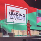 Demi-Leigh Nel Peters onstage at the Forbes Africa Leading Women Summit