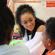 Miss USA 2017 Kara McCullough works with students at the 'Take Flight with SE4K' STEM Workshop