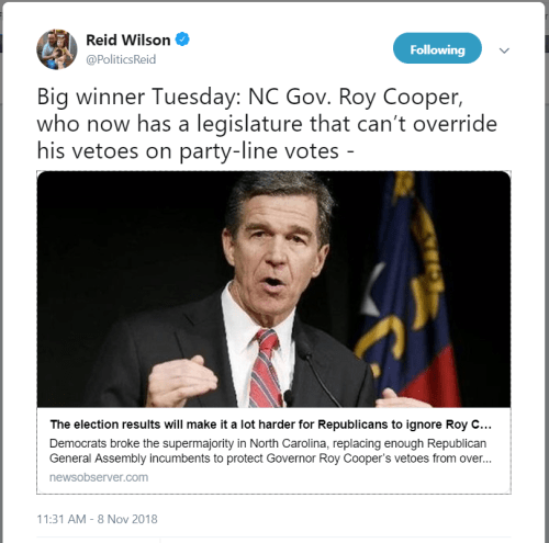 "ICYMI: ""Big winner Tuesday: NC Gov. Roy Cooper"""