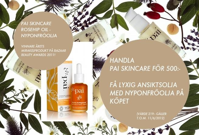 Få nyåponfröolja på köpet när du handlar ekologisk hudvård från Pai Skincare