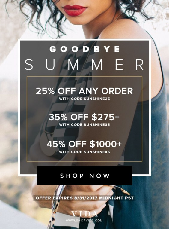 Goodbye Summer Sale, enjoy up to 45% off your next order.