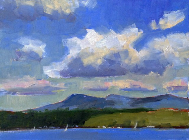 """Cloud Shadows"" 9x12 Oil. When the clouds started to appear during lunch they were casting moving shadows on the opposite shore and across the mountains. I knew I wanted to paint them. I paused before I had lunch to clean my palette and to set up the colors that I would need to paint fast. The clouds were moving steadily across the sky. Cloud painting requires preparation and speed; those clouds keep moving, changing shape and drifting out of sight! Photo: Marcus Gale."