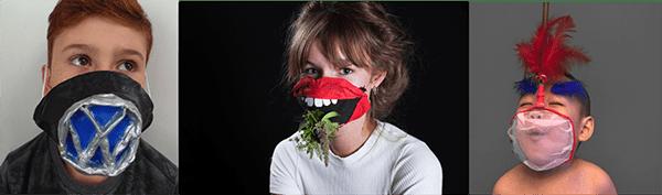 """De gauche à droite: """"Das Auto"""" porté par Léni Clause (10 ans, France), """"Green Mouth"""" porté par Alma Molsted Andersen (Danemark) et """"Filet de Gloire"""" porté par Cheng Peien (3 ans, Chine)"""