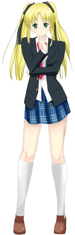 Mikaela in school uniform with coat