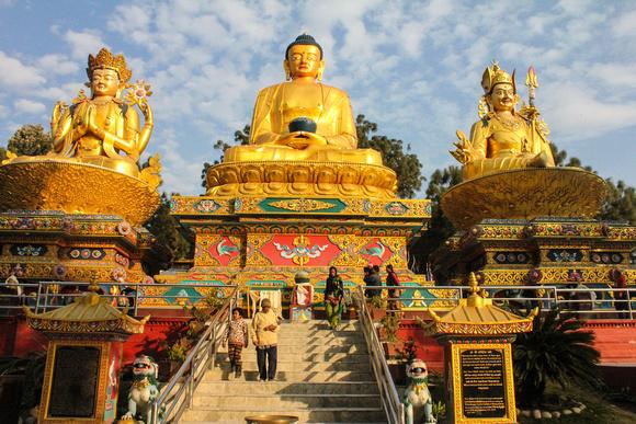 This is three Buddha Park in Kathmandu