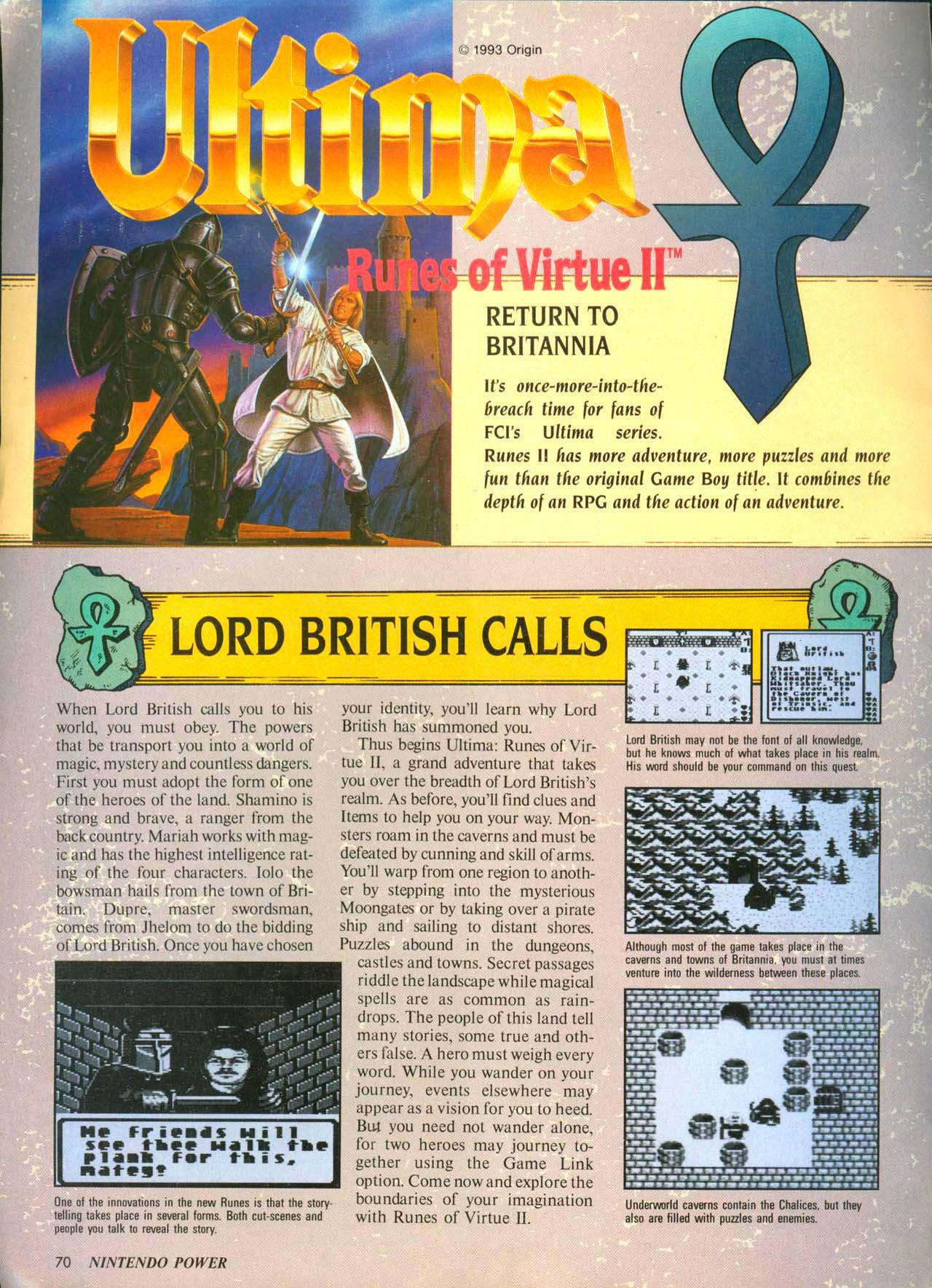 Runes of Virtue II in Nintendo Power circa 1993 – The Origin