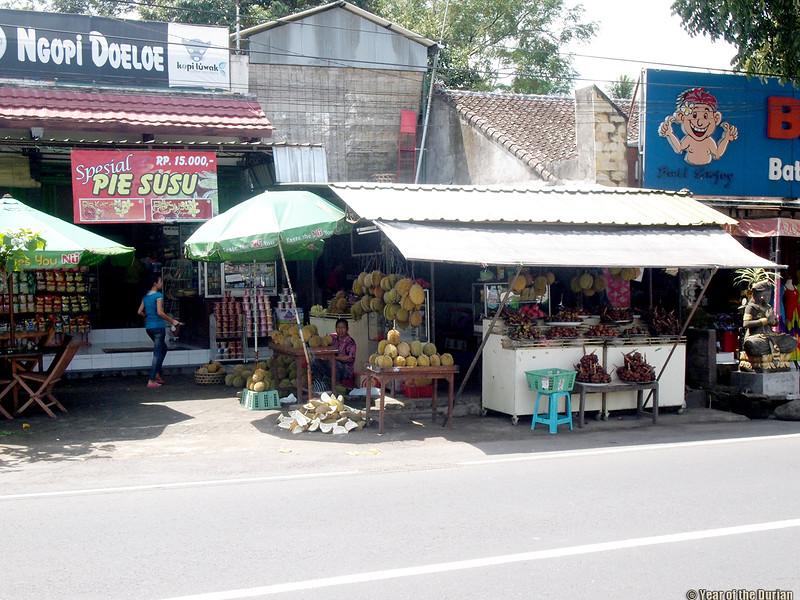 Luwus durian stalls Bali