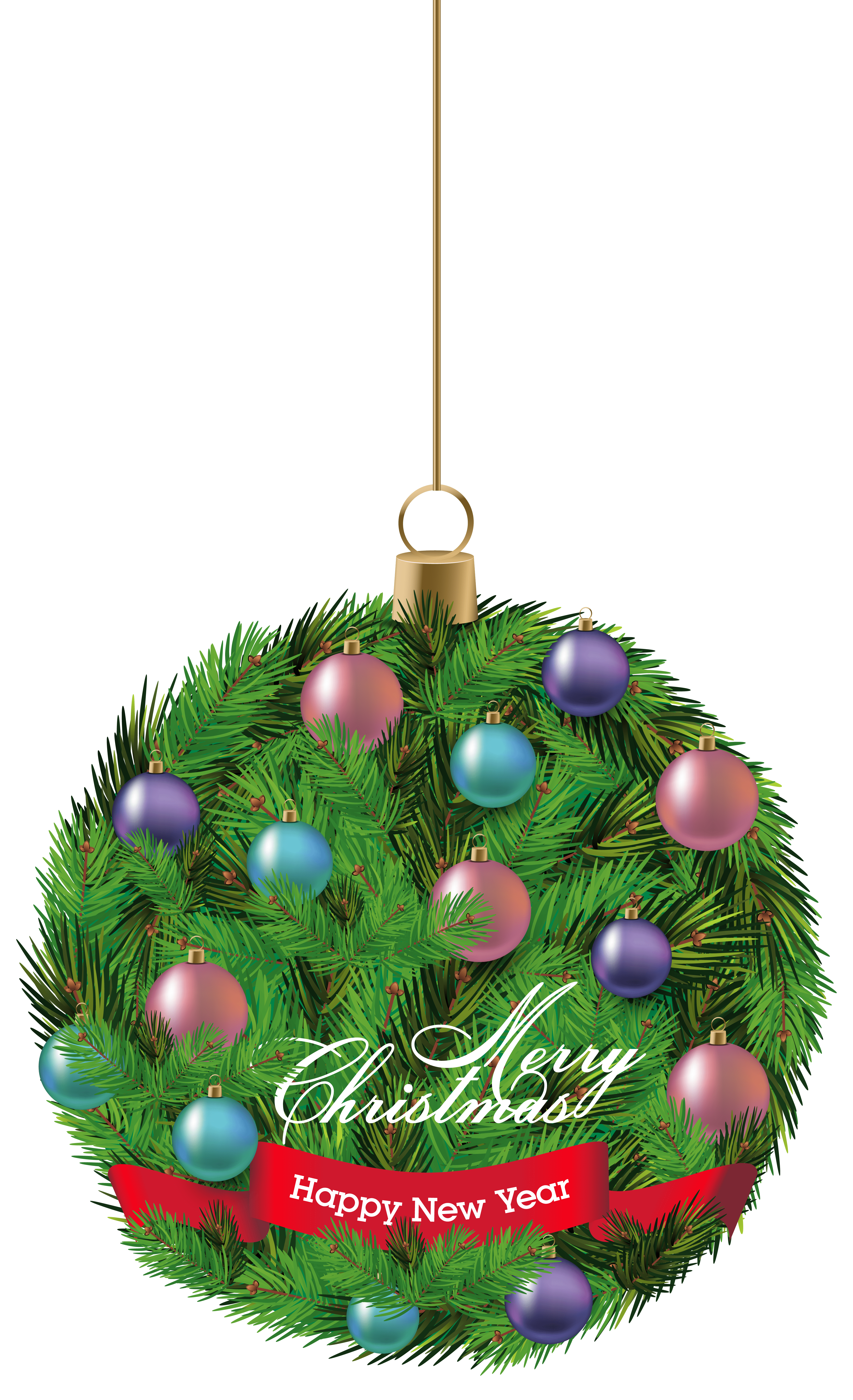 Pine Hanging Christmas Ornament Png Clipart Image