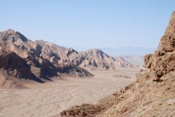 A lonely path through the desert near Yazd