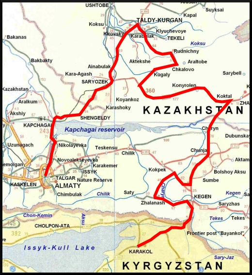 Route 2 – Almaty to Kyrgyzstan, the long way....