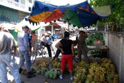 Buying bananas at the market