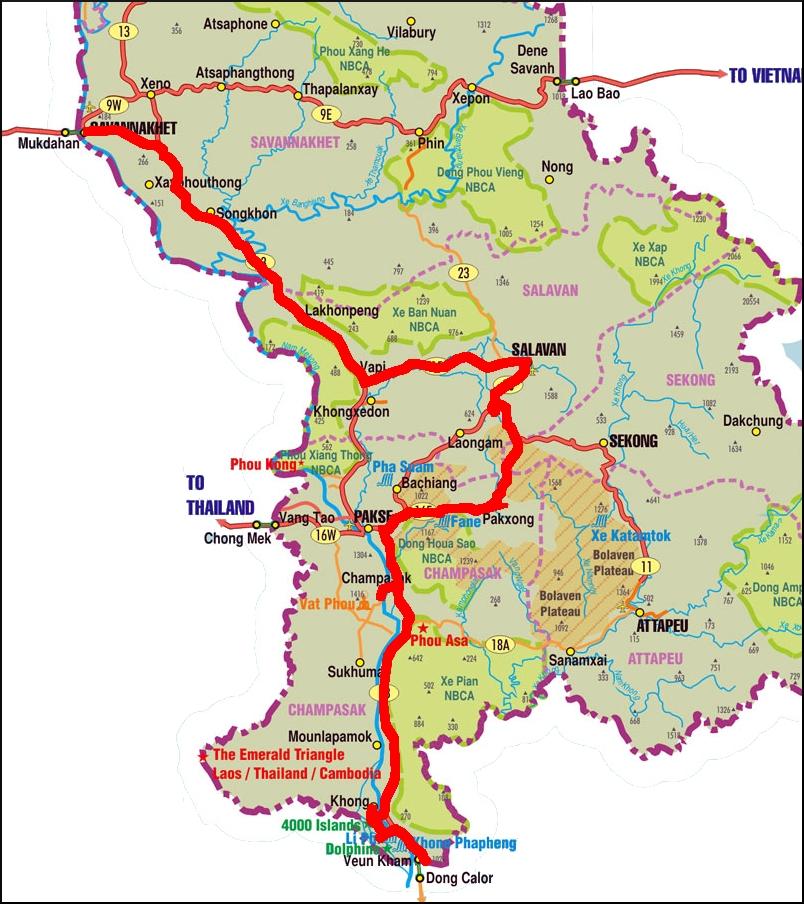 Map Border to Savannakhet TravellingTwo Bicycle Touring Around
