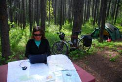 It's nice to have a forest camp as your office!