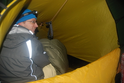 Andrew in our tent