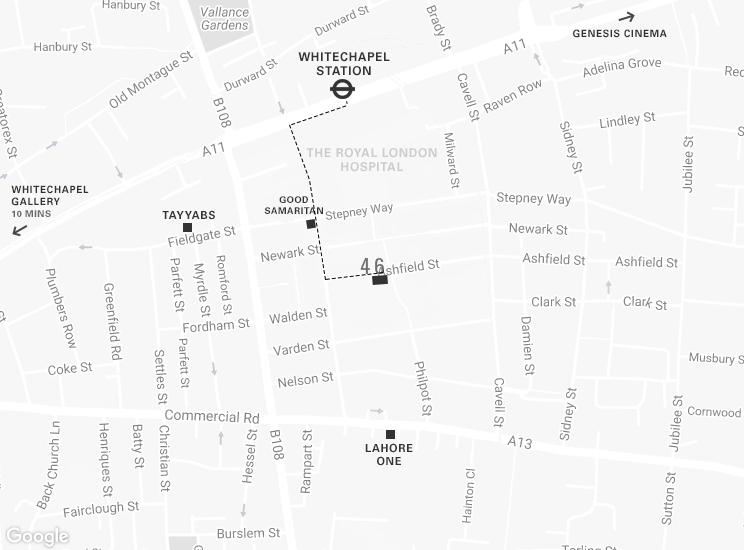 The gallery is a 5 minute walk from Whitechapel Station